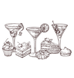 hand drawn desserts and soft cocktails vector image