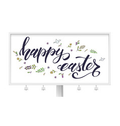 handwritten happy easter text with doodles vector image