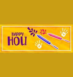Happy holi color pichkari splash banner design vector
