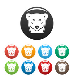 head female polar bear icons set color vector image