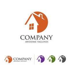 house and real estate logo with circle style conce vector image