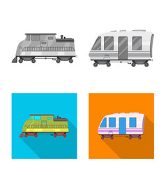 isolated object of train and station icon set of vector image