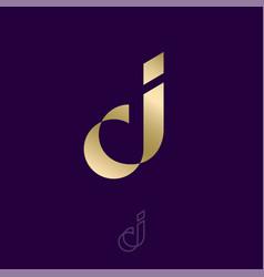 J letter gold monogram luxury logo jewelry vector