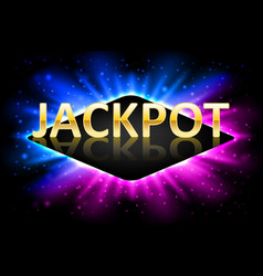 Jackpot shiny gold casino lotto label with neon vector