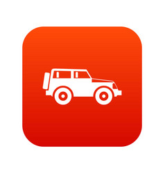 Jeep icon digital red vector