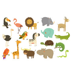 Jungle animals and birds set flamingo gazelle vector
