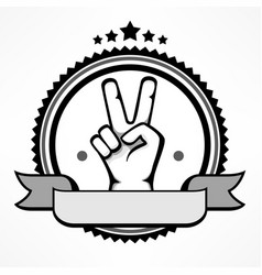 Label with victory gestures vector