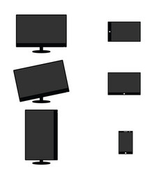 lcd screen set technology definition art vector image