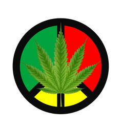 marijuanas leaf on a red green yellow peace logo vector image