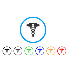 Medical caduceus emblem rounded icon vector