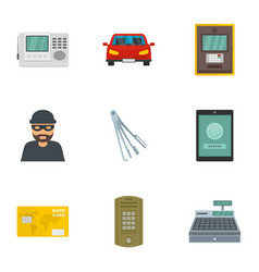 Money security icon set flat style vector