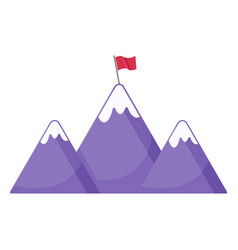 mountains with flag icon vector image
