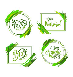 natural and organic food eco label green vector image