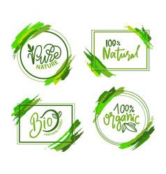 Natural and organic food eco label green vector