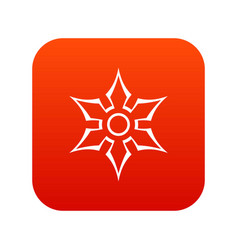 ninja shuriken star weapon icon digital red vector image