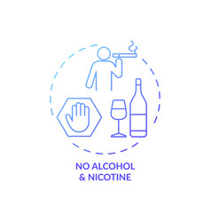 No alcohol and nicotine blue gradient concept icon vector