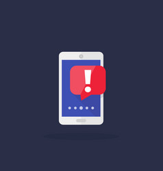Notification icon with smartphone and warning vector