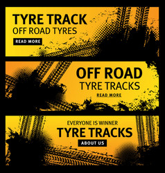 off road tyre tracks grunge tire prints vector image