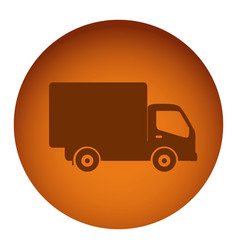Orange emblem delivery car icon vector