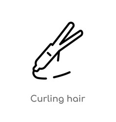 Outline curling hair icon isolated black simple vector