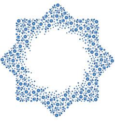 Patterned octagonal star floral frame vector