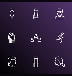 people icons line style set with head jogging vector image