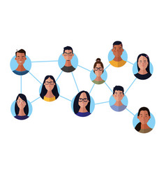 People network face round icons vector