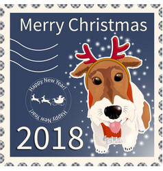postage stamp with the fox terrier 2 vector image