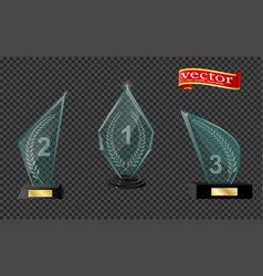 realistic glass trophy awards trophy and award vector image