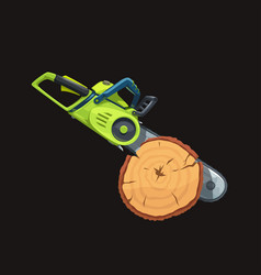 realistic green chainsaw in tree side view vector image