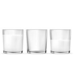 Realistic transparent glasses for milk full vector