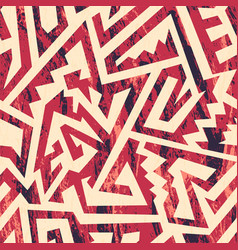 red grunge tribal seamless pattern vector image