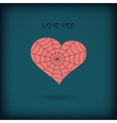 Red heart icon on dark background Love web concept vector image vector image