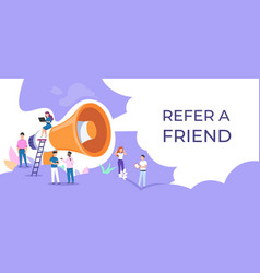 Refer a friend people group with megaphone vector