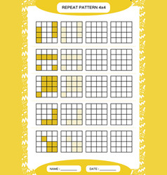 Repeat yellow pattern cube grid with squares vector