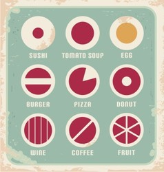 retro set food pictograph icons and symbols vector image