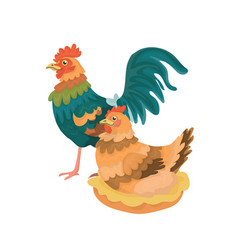 rooster and a hen vector image
