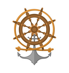 rope steering wheel and anchor sea emblem vector image
