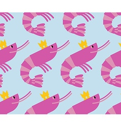 Royal shrimp in Crown of seamless background Giant vector