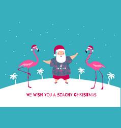 santa claus and pink flamingos greeting banner vector image