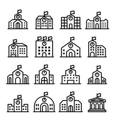 School icon set in thin line style vector