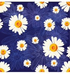 Seamless pattern with chamomiles on blue vector