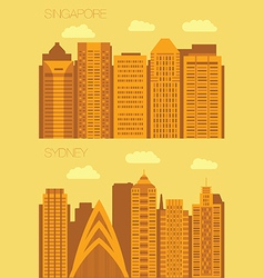Set 2 flat background city singapore and sydney vector
