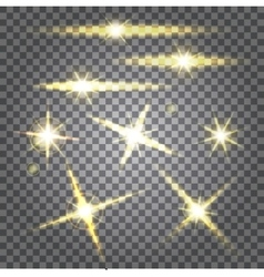 Set glowing lights stars the sun vector
