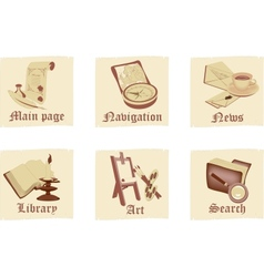 Set of antique parchment icons vector image