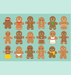 Set of different gingerbread man vector