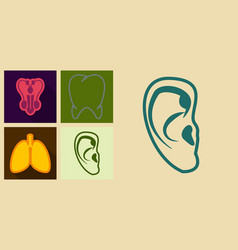 Set of medicine icons in flat style ears tooth vector