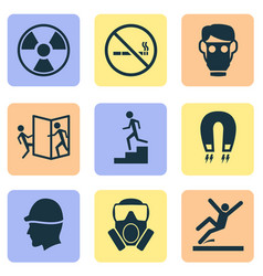 sign icons set with toxic gas beware of opening vector image