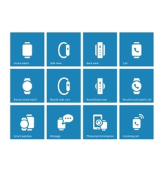 Smart watch icons on blue background vector image