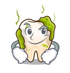 Smirking cartoon unhealthy decayed teeth in mouth vector